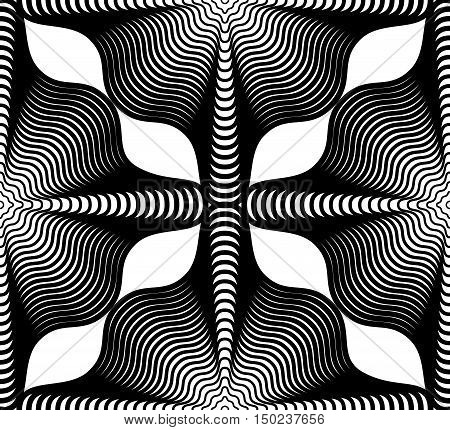 Geometric monochrome stripy seamless pattern black and white vector abstract background. Graphic symmetric backdrop.