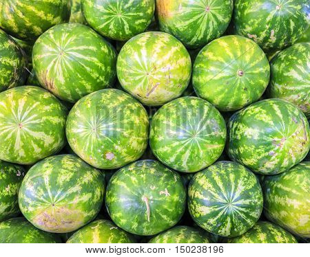 A stack of watermelons at the fruit and vegetable market in Dubai, UAE