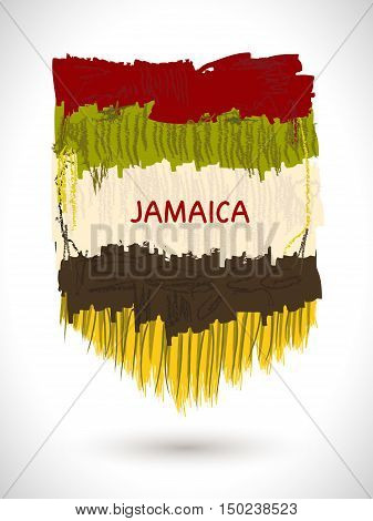 Vector colorful painterly background. Abstract texture. Ethnic Jamaica element. Ethnographic frame