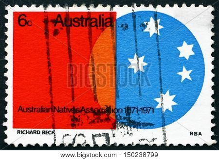 AUSTRALIA - CIRCA 1971: a stamp printed in Australia shows Southern Cross Australian Natives Association Centenary circa 1971
