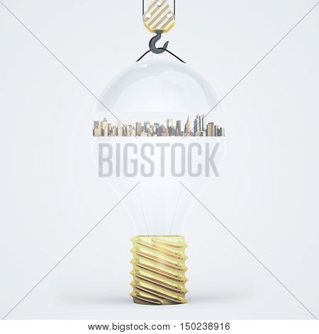 Abstract light bulb with city suspended on crane hook. Light background. Idea concept. 3D Rendering