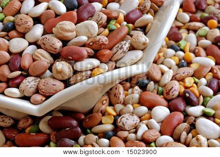 Colorful mixture of dried beans in and around a decorative ceramic dish.  Macro image with shallow dof