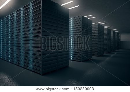 Side view of server room. Networking communication technology concept. 3D rendering