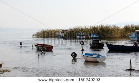 STRUGA , MACEDONIA OCTOBER 02 2016: Place where the water outflow from the Lake Ohrid and form the river Black Drim