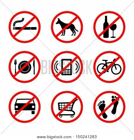 No signs, prohibition signs - vector illustration