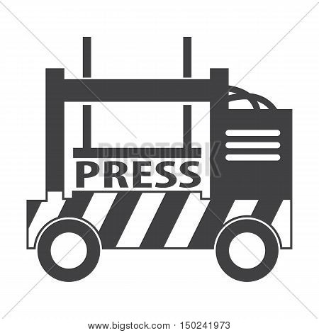 press car black simple icon on white background for web design
