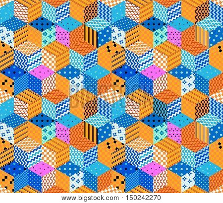 Bright seamless patchwork pattern. Multicolor quilting design.