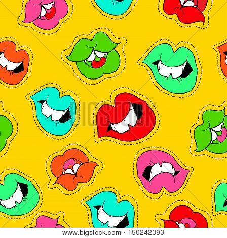Hand Drawn Girl Mouth Patch Icon Seamless Pattern