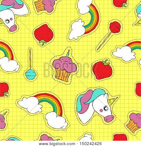 Cute Hand Drawn Stitch Patch Icon Seamless Pattern