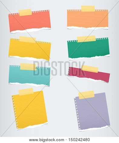 Pieces of colorful ruled torn note paper with yellow adhesive, sticky tape stuck on grey background.