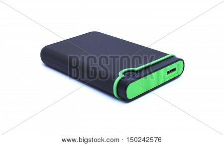 Black and Green External hard drive on white isolated