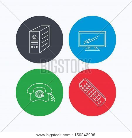 TV remote, retro phone and TV remote icons. Widescreen TV linear sign. Linear icons on colored buttons. Flat web symbols. Vector