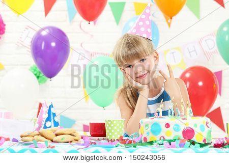Happy Girl Having Fun At Birthday Party