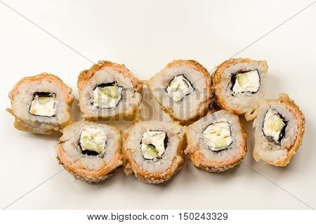 delicious rolls from above isolated on table