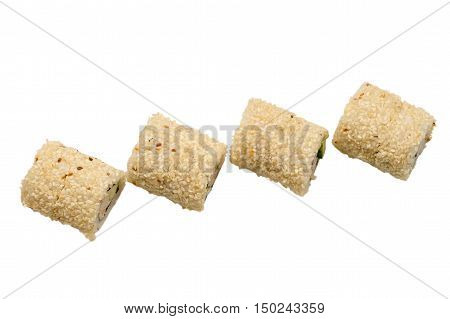 four roll with sesame top view isolated on white