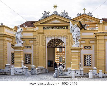 MELK, AUSTRIA - September 4, 2016: Main entrance to the Benedictine Abbey at Melk Danube Valley Austria