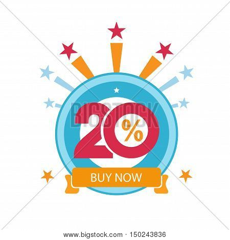 Twenty discount icon. Sales design template. Shopping and low price symbol.