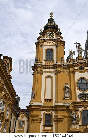 MELK, AUSTRIA - September 4, 2016: View of the church of the Benedictine Abbey at Melk Danube Valley Austria