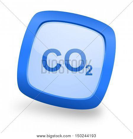 carbon dioxide blue glossy web design icon