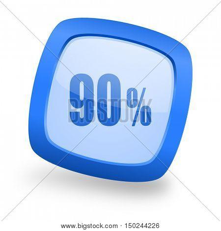 90 percent blue glossy web design icon