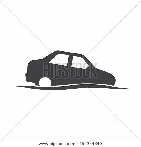 car wave black simple icon on white background for web design