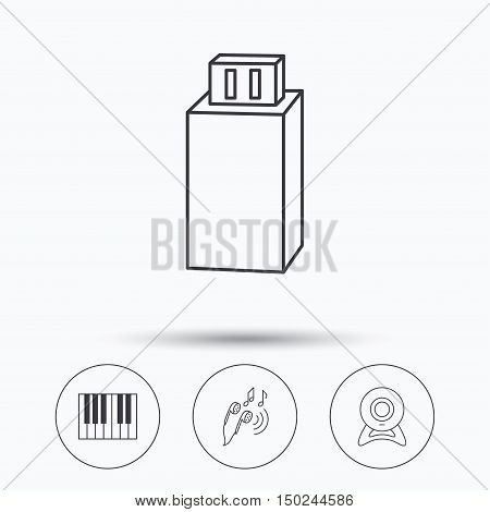 Headphones, web camera and USB flash icons. Piano linear sign. Linear icons in circle buttons. Flat web symbols. Vector