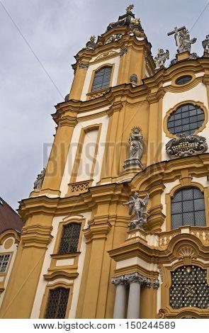 MELK, AUSTRIA - September 4, 2016: Detail of the church of the Benedictine Abbey at Melk Danube Valley Austria
