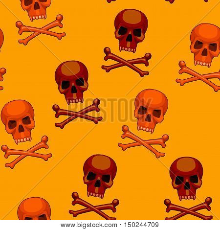 seamless pattern with orange and brown skulls and crossbones on yellow background