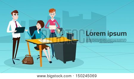 Business People Team Boss Businesswoman Manager Sit Teamwork Flat Vector Illustration