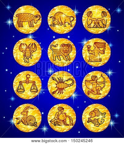Set gold foil circles with zodiac symbols on blue starry background. Vector illustration