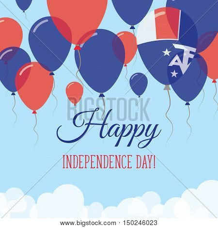 French Southern Territories Independence Day Flat Greeting Card. Flying Rubber Balloons In Colors Of
