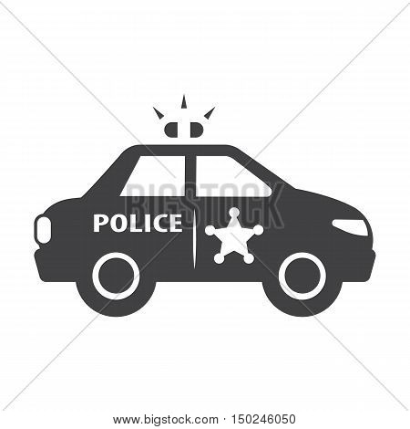 police car black simple icon on white background for web design