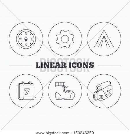 Backpack, camping tend and hiking boots icons. Compass linear sign. Flat cogwheel and calendar symbols. Linear icons in circle buttons. Vector