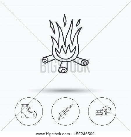 Bonfire, umbrella and hiking boots icons. Park linear sign. Linear icons in circle buttons. Flat web symbols. Vector