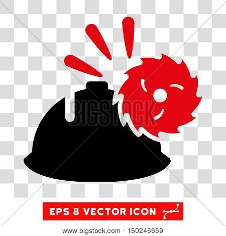 Vector Circular Blade Head Protection EPS vector icon. Illustration style is flat iconic bicolor intensive red and black symbol on a transparent background.