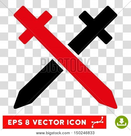 Vector Crossing Swords EPS vector pictogram. Illustration style is flat iconic bicolor intensive red and black symbol on a transparent background.