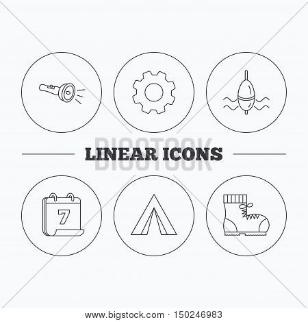 Flashlight, fishing float and hiking boots. Camping tent linear sign. Flat cogwheel and calendar symbols. Linear icons in circle buttons. Vector