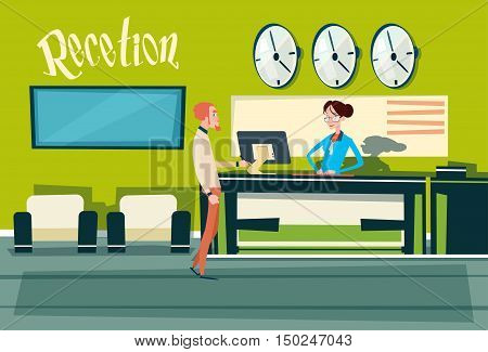 Business Office Reception Waiting Room Businesspeople Workplace Flat Vector Illustration