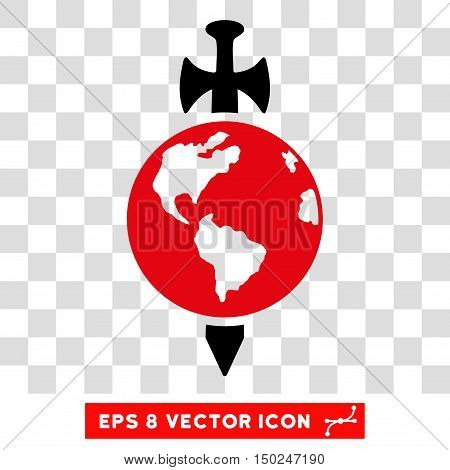 Vector Earth Guard Sword EPS vector icon. Illustration style is flat iconic bicolor intensive red and black symbol on a transparent background.