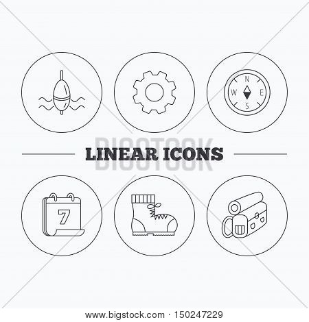 Compass, fishing float and hiking boots icons. Backpack linear sign. Flat cogwheel and calendar symbols. Linear icons in circle buttons. Vector