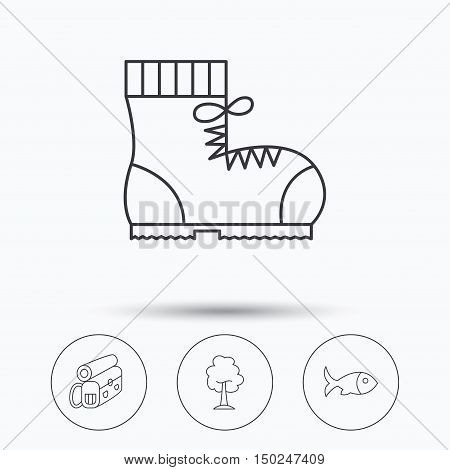 Maple tree, fish and hiking boots. Backpack linear sign. Linear icons in circle buttons. Flat web symbols. Vector