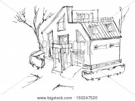 a rough sketch of a modern home. Sketch of the cottage in the country. Quick drawing of a house