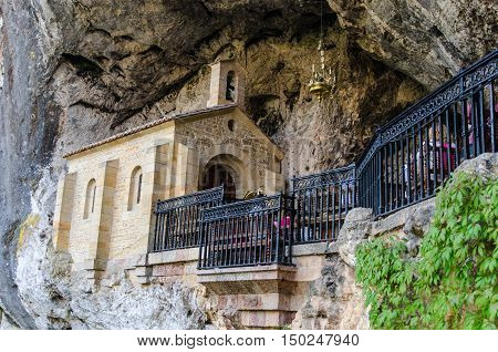 Chapel Dedicated To La Santina In Holy Cave Of Covadonga
