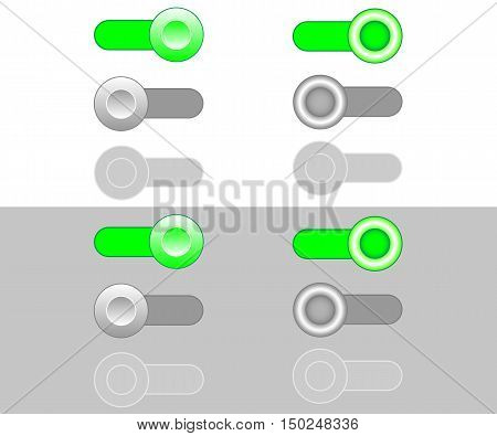 On Off Enable Disable toggle switch icons. White and gray background. Vector illustration.