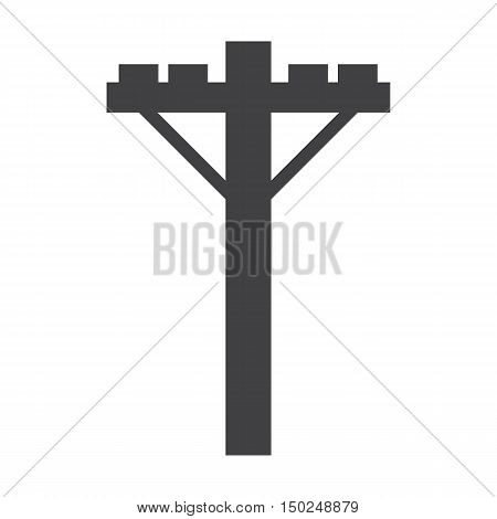 Electric pole black simple icon on white background for web design