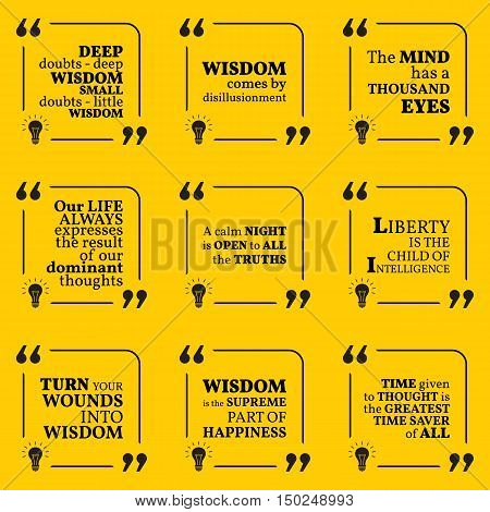 Set Of Motivational Quotes About Wisdom, Intelligence, Positive Thinking And Happiness. Simple Note