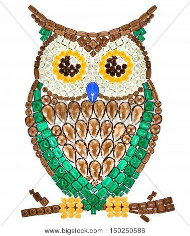 Owl Fashion Design. Feng Shui Owl Symbol Wisdom Wealth. Creative Art Jewelry Decoration. Fashion Luxury Glamor Stylish colorful Owl. Shiny Mosaic Precious placer. Rich Finance Knowledge Concept