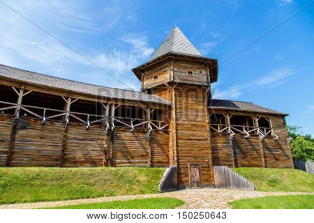 wooden fortifications. Baturin Fortress - Fortress in Baturin Chernigov region Ukraine. Built in 1625 on the bank of the river Seim