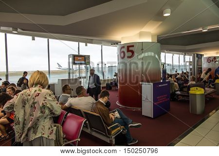 Paris France - September 15 2016: The airport Charles de Gaulle in Paris waiting for departure at the gate 65