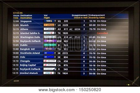 Paris France - September 15 2016: The airport Charles de Gaulle information board for passengers.